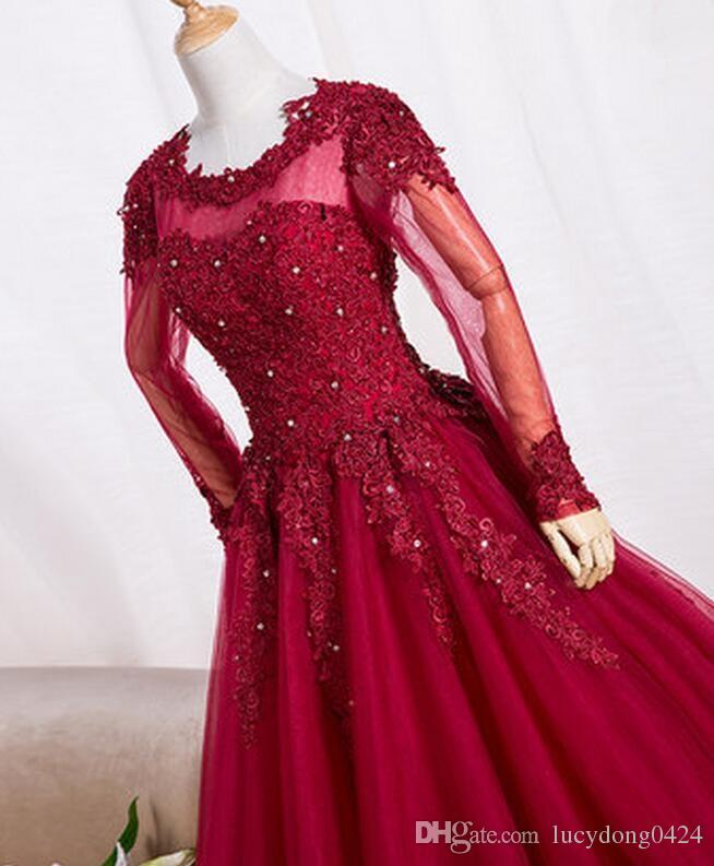 New Arrival Mother of the Bride Dresse Long Sleeve Charming A-Line Tulle Applique Beaded Formal Dresses Hot Custom Made