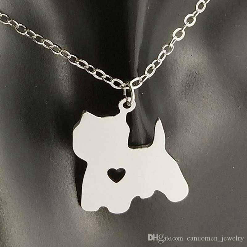 Japanese Spitz Pendant Necklace 304 Stainless Steel Animals Women Charm Pendants Pet dog lover Necklaces Children Gifts