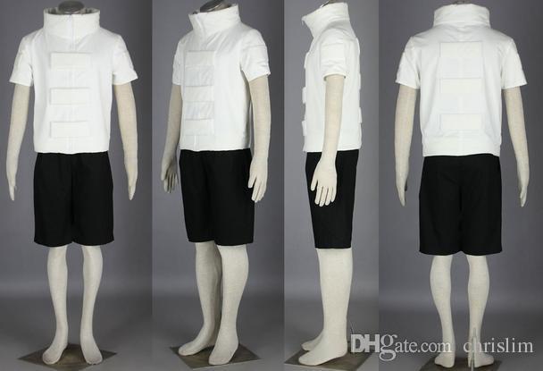 Japanese Anime Naruto Cosplay Young Hyuga Neji White Top + Black Short Pants set For Man and Woman