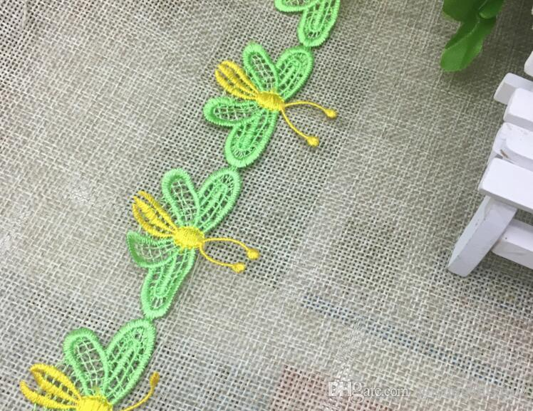 20Yard Embroidered Butterfly Lace Cotton Fabric Trim For Sewing Apparel Dress Doll Cap DIY Type-2