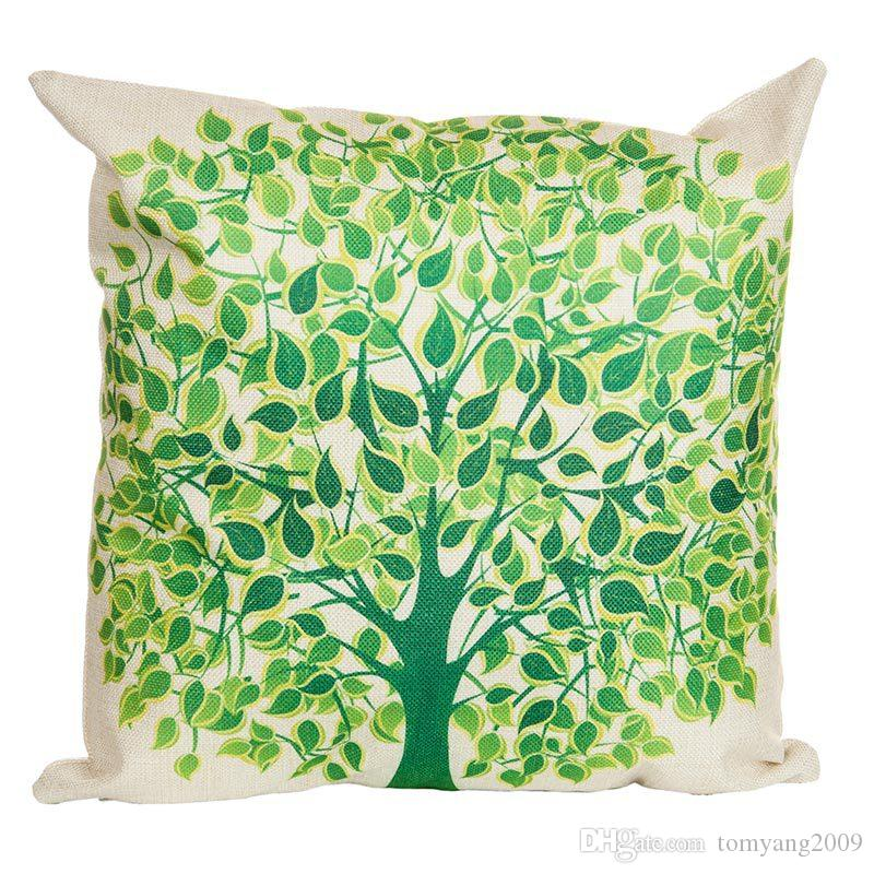 Campo minimalista estilo dos desenhos animados Almofadas Almofadas Covers flor da árvore fronha decorativa lençóis de algodão Almofada presente Tampa