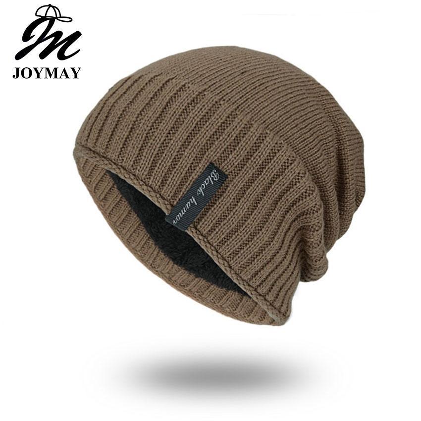 45949ebf Joymay Brand Winter Beanies Solid Color Hat Unisex Plain Warm Soft Skull  Knitting Hats Touca Gorro Caps For Men Women 5 Colors WM054