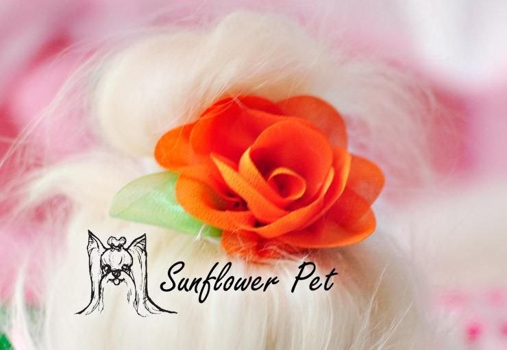 Pet Accessories Handmade Designer Dog Grooming Hair Bows Doggie Pet Gifts chiffon stereo rose flowers clip