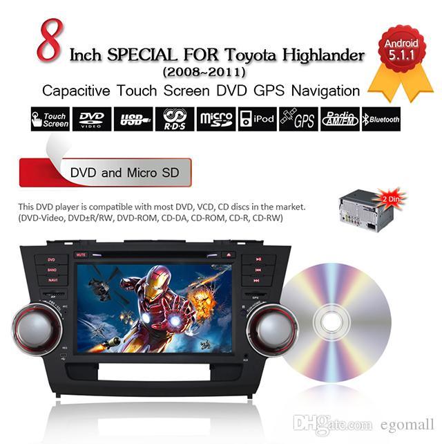 Joyous 1024*600 Quad Core Android 5.1 for TOYOTA HIGHLANDER/Kluger 2008 2009 2010 2011 Car DVD PlayerGPS Navigation Radio Headunit