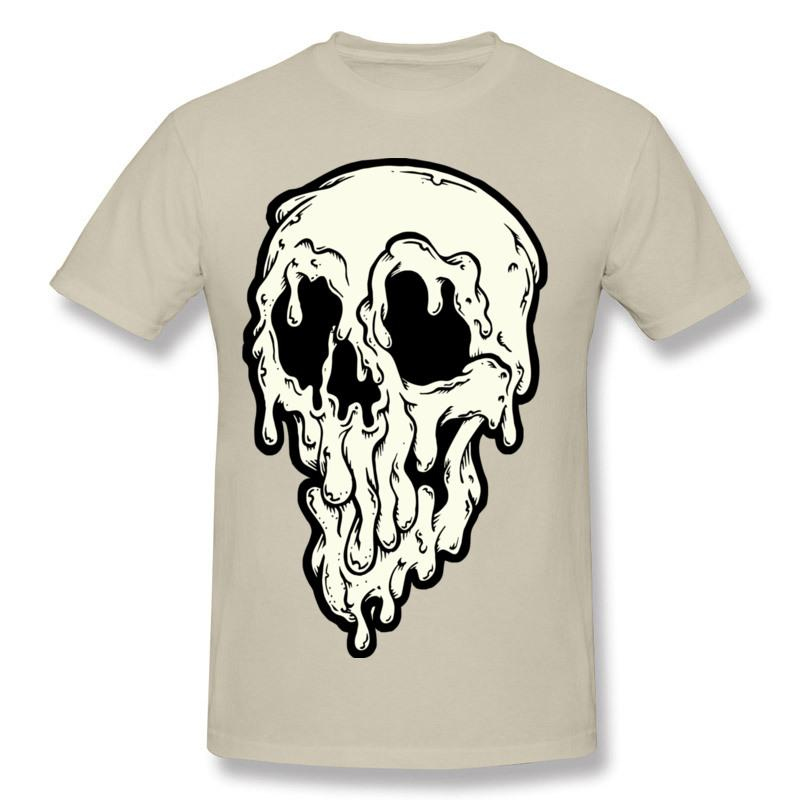 Halloween Horror Print T-Shirt Big Drippy Skull Men's Style Top 100% Cotton New Listed Men's Outdoor Sports Tops