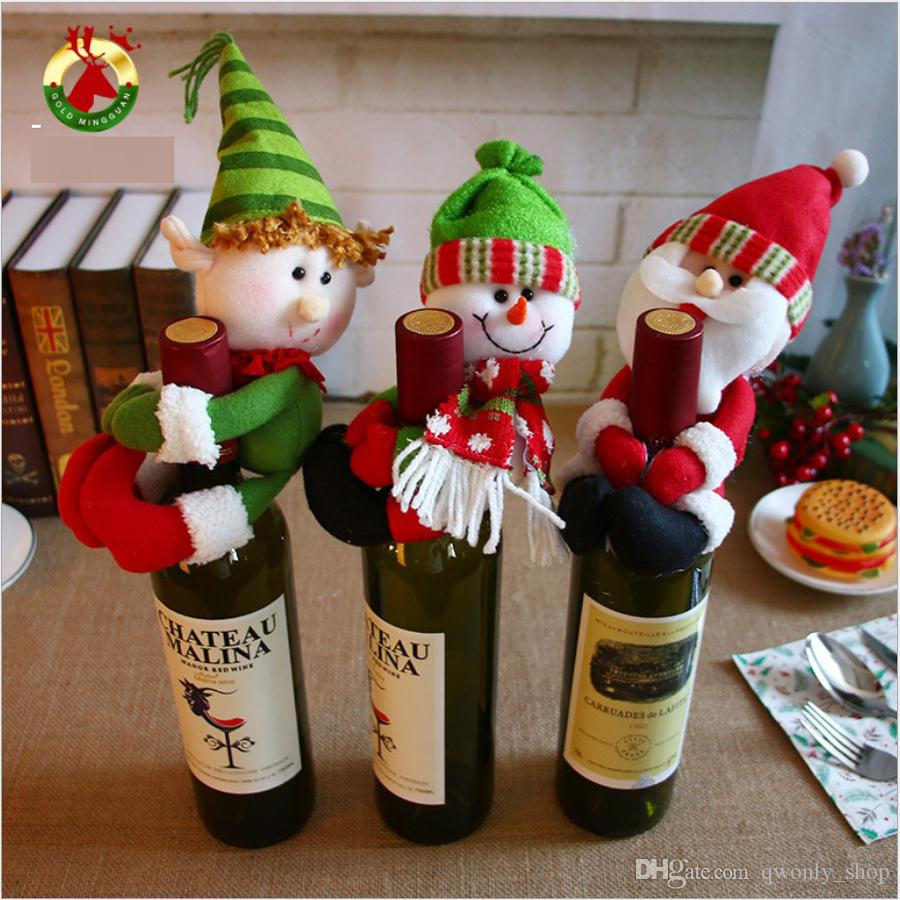 Fashion Cute Red Wine Bottle Holder Christmas Decorations Gift Party Best Gift for Xmas Bar Red Wine Bottle Cover Plush Toys Free shipping