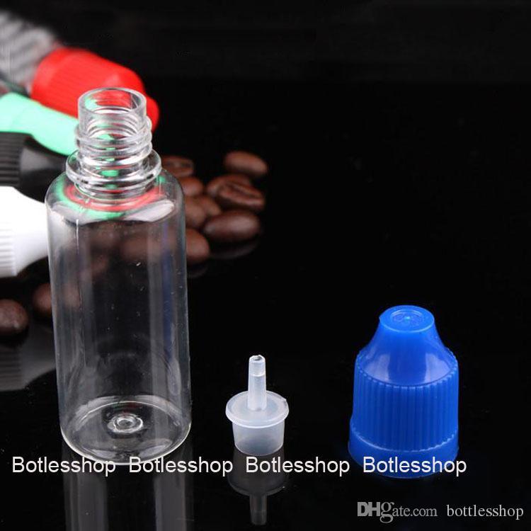 중국에서 만든 20 ml 빈 병 페트 명확한 플라스틱 Dropper 병 안전 모자와 긴 얇은 팁, 전자 액체 바늘 병