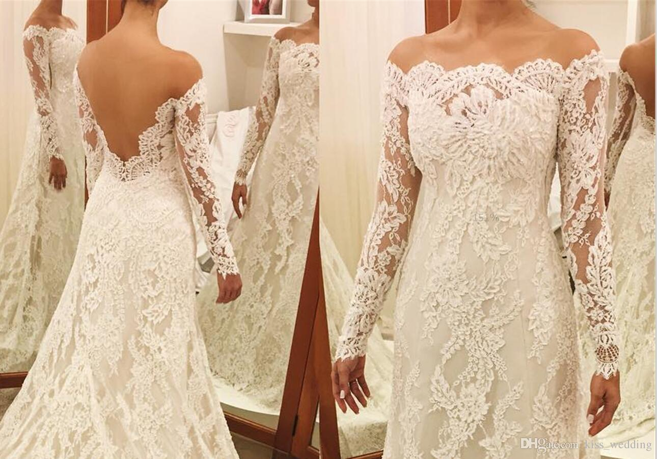 Glamorous Lace Sweep Train vestidos de novia Jewel Sheer Neck mangas largas Robe De Mariage Illusion Back Sheath Vestido de novia vestido