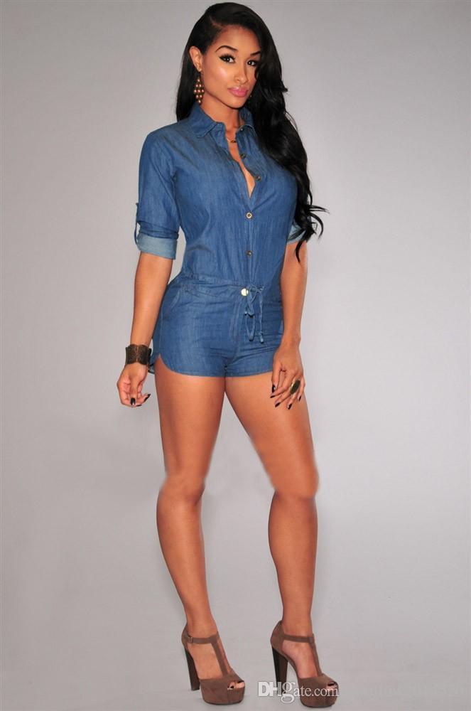 2016 Nuovo arrivo sexy delle donne Night Club di un pezzo di jeans di nuova moda donne sexy tuta pagliaccetto denim discoteca pagliaccetto pantaloni