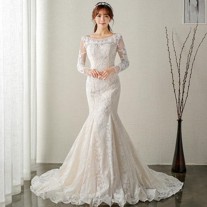 2e730c9a84 Elegant Champagne Mermaid Wedding Dresses With Long Sleeve Bateau Country Bridal  Gowns For Bridal Plus Size With Lace Appliques Halter Wedding Dresses ...