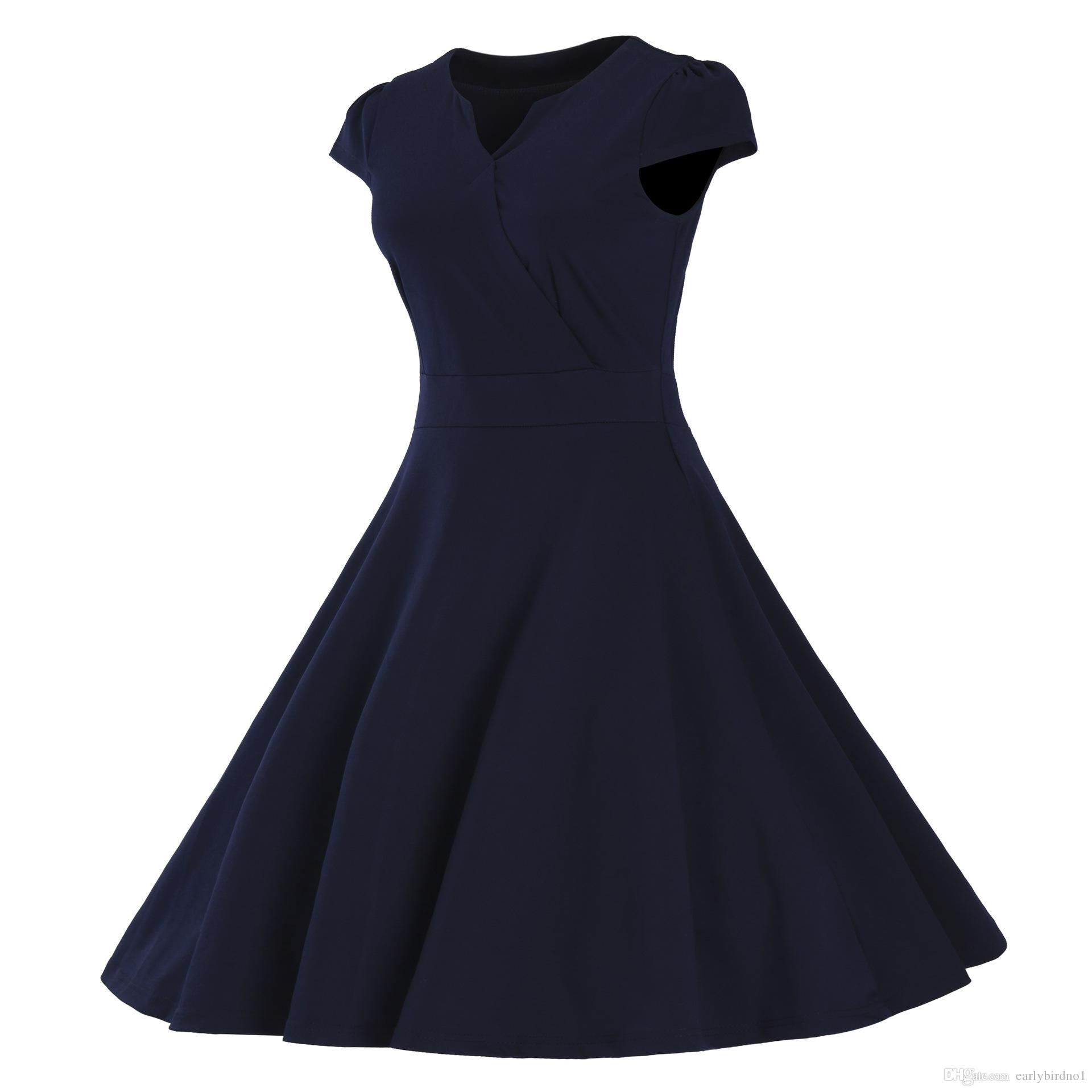 2017 Nouvelle Arrivée Bordeaux Marine Bleu Cap Manches Robes Décontractées Plus la taille S-3XL Pas Cher Mode Une Ligne Femmes Vêtements MC0900