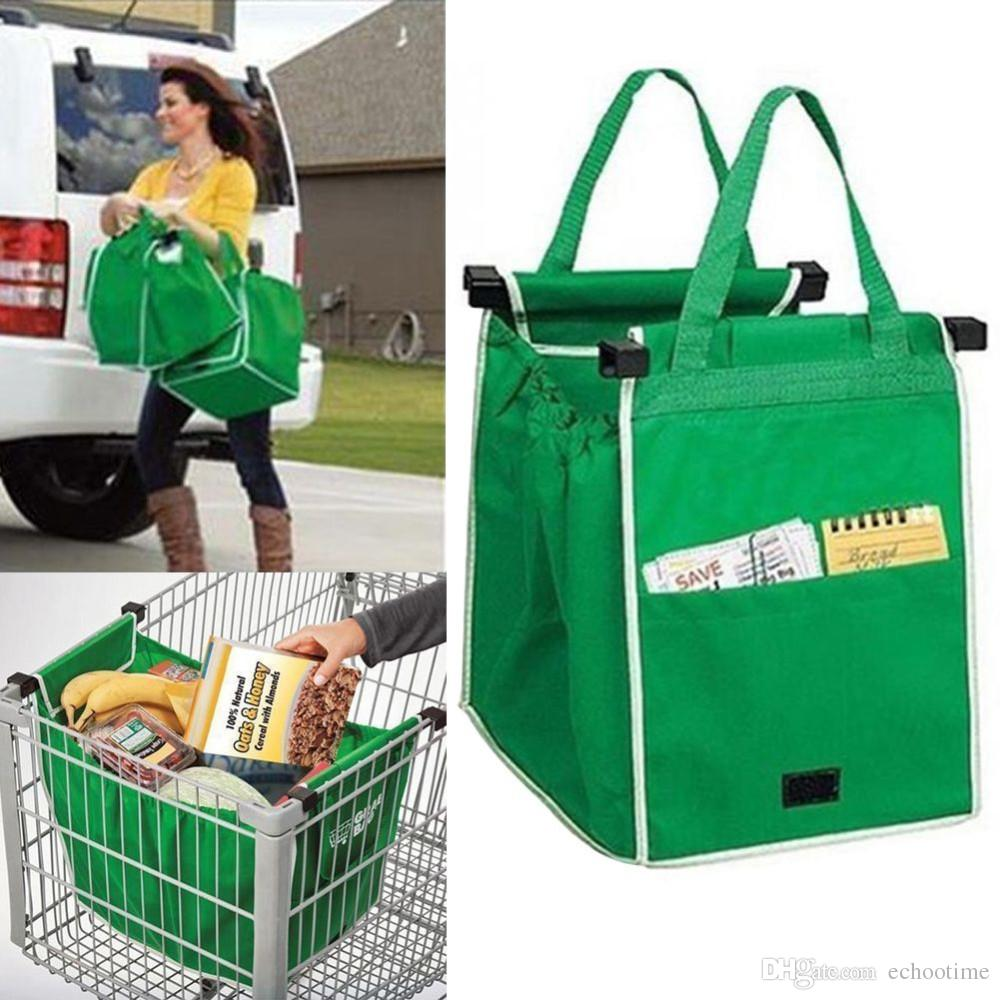 Discount New Grab Bag Reusable Ecofriendly Shopping Bags That Clips To Your Cart Foldable Eco Tote From China