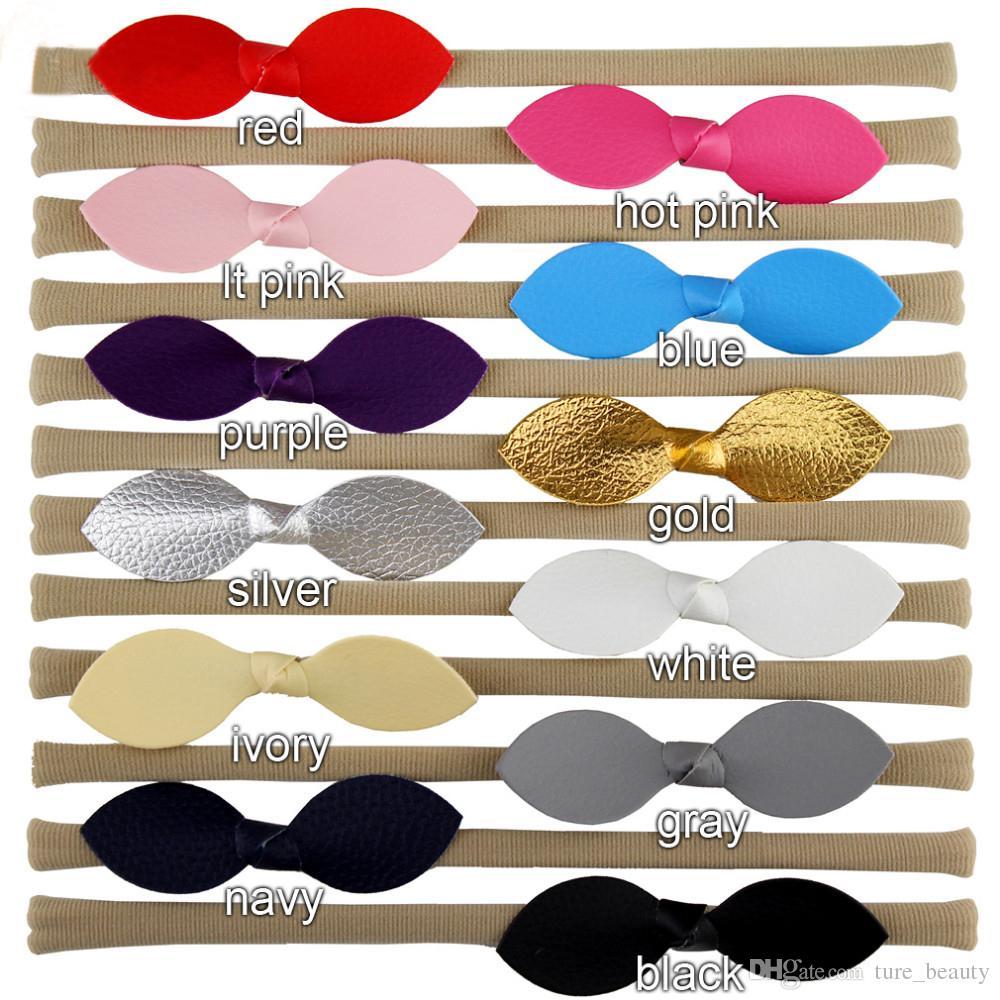 "2016 HOT ! 3"" Mini Glitter Leather Bow Nylon Headband,Leather Bows Baby Headbands,Girls And Kids Nylon Hair Accessories /"