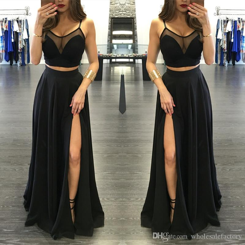 Sexy Black Illusion Two Pieces Prom Dresses 2017 Front Split