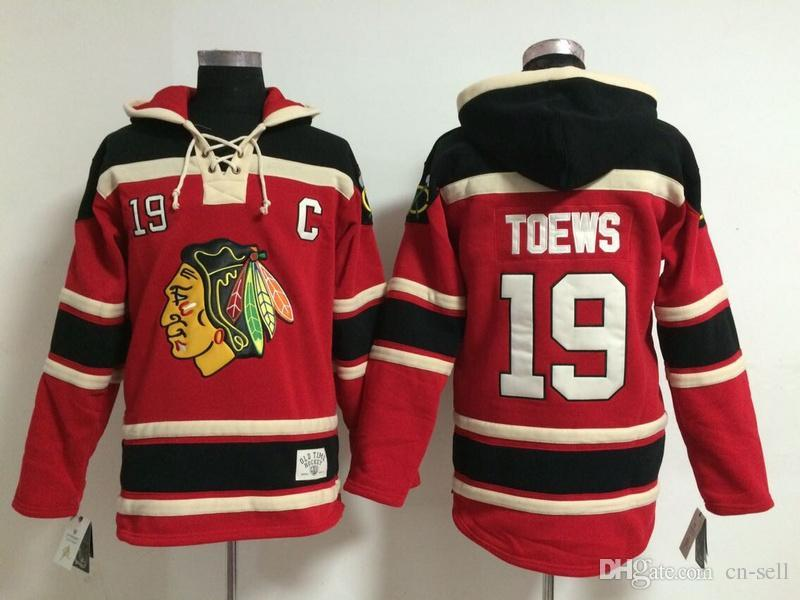 97095e12d12 ... coupon 2019 mens ice hockey hoodies chicago blackhawks jersey  sweatshirts all stitched 19 jonathan toews redblack