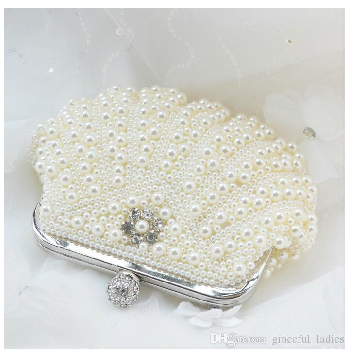 Elegant Pearl Evening Clutches Bridal Hand Bags Beige/White Beads ...