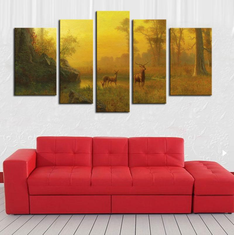 5 Impressionista stile della combinazione di immagine Dipingere la parete della pittura dell'arte della pittura di legno della foresta del lago del cervo della foresta di legno la decorazione domestica