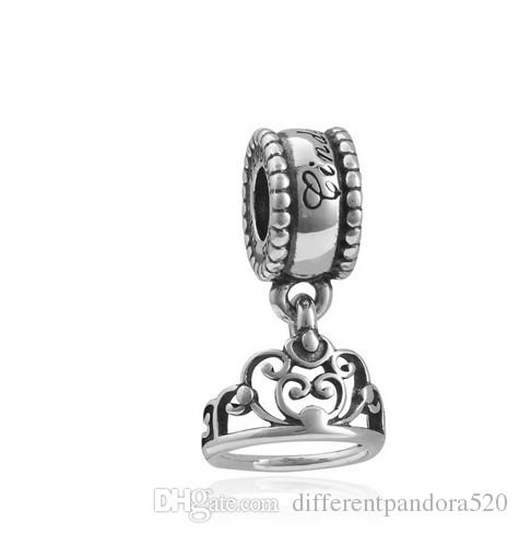 Fit Pandora Charm Bracelet European Silver Bead Charms Cinderella Tiara Crown Dangle DIY Snake Chain For Women Bangle & Necklace Jewelry Xma