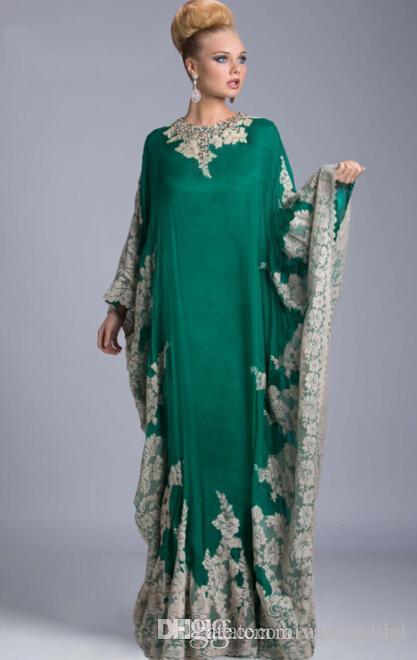 Pizzo Abiti da sera economici donna Dubai Arabo Saudi Arabian Aftan Musulmano Rosa Royal Blue Green Donna Abiti formali Vestidos Maniche lunghe Nuovo