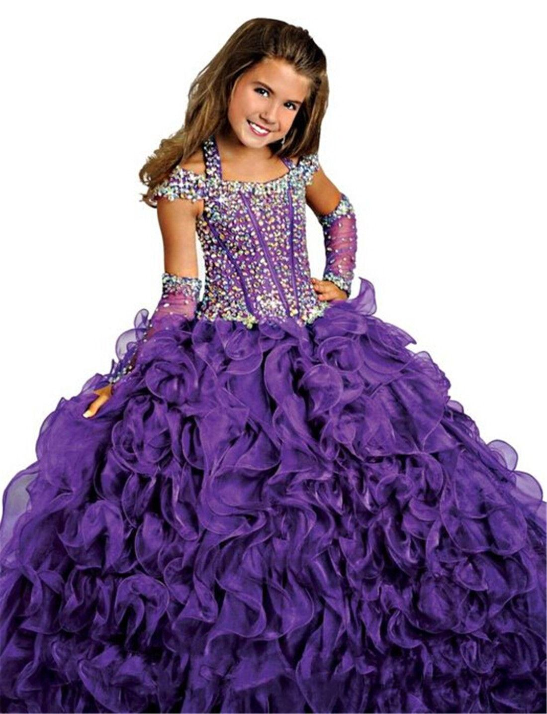 Girl Ball Gown Pageant Dress Bridesmaid Party Princess Gown Flower ...