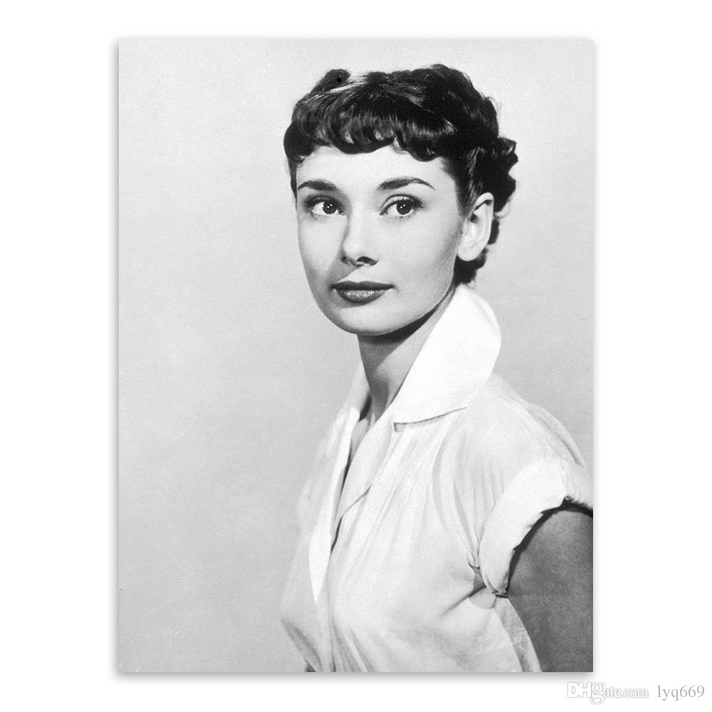 Audrey Hepburn Black White Photo Vintage A4 Poster Print Pop Movie Celebrity Canvas Painting Super Star Portrait Wall Art Gift