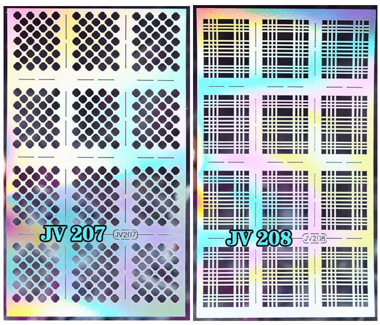 2016 20designs Nail Art Vinyl silver Stencil Designs Stickers Decal Sheets Frames #8001