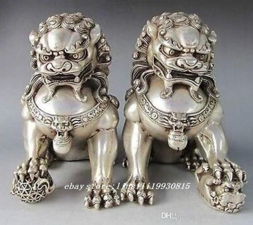 Raro Chinês Guardião de Prata Leão Foo Fu Dog Estátua Par