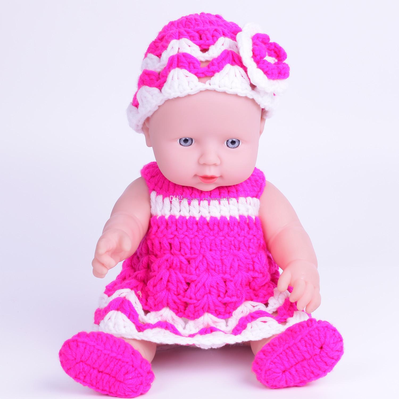 30cm Handmade Sweater Clothes Vinyl Newborn Lifelike Boy Baby Dolls