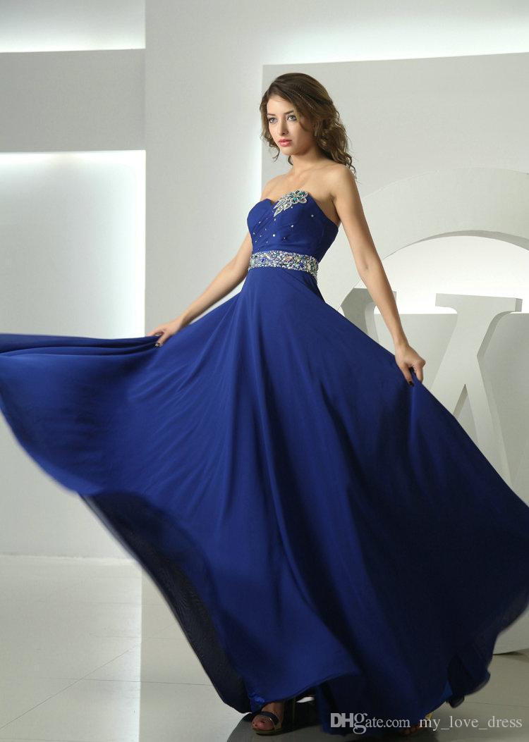 Blu scuro elegante lungo A-line Sweetheart abito da sera in chiffon Piano Lunghezza Prom Dress perline di cristallo cintura pieghe abiti da festa