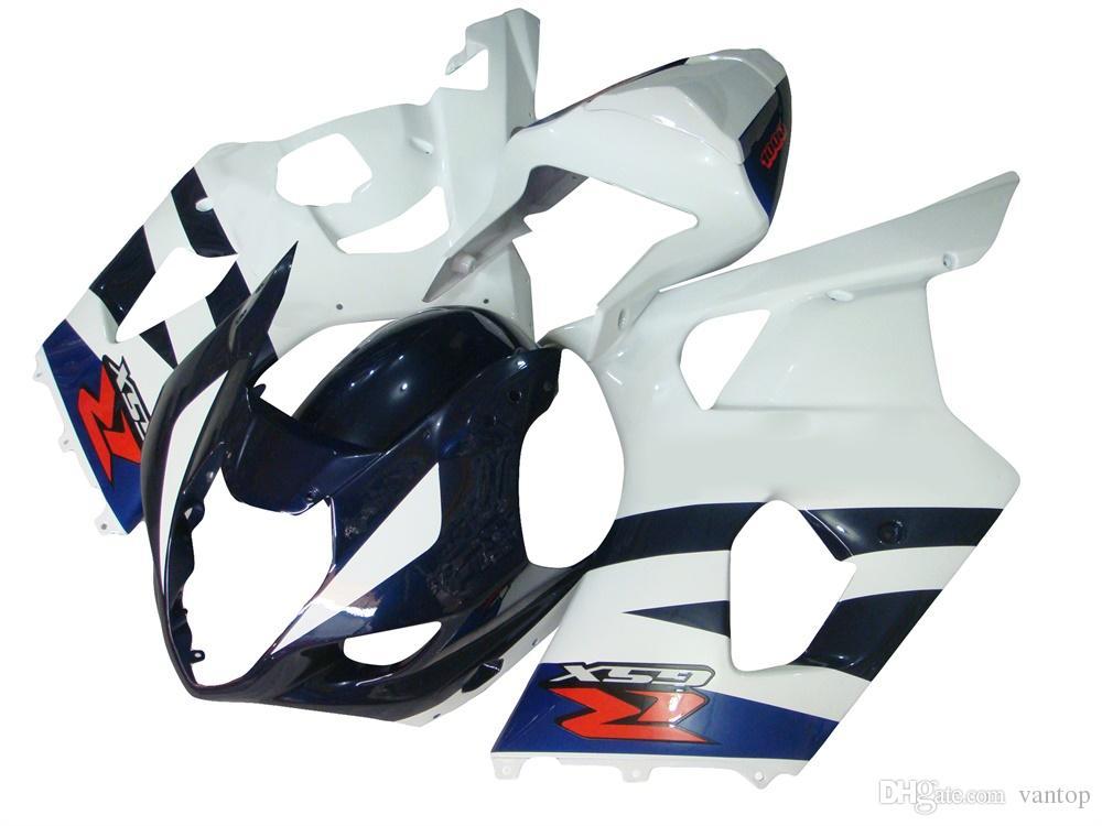Kit de carenado de cuerpo de inyección de cuadro de motocicleta Kit de carenado de cuerpo de GSXR1000 2003 2004 Kit de carenado de cuerpo de inyección ABS gris mate plata