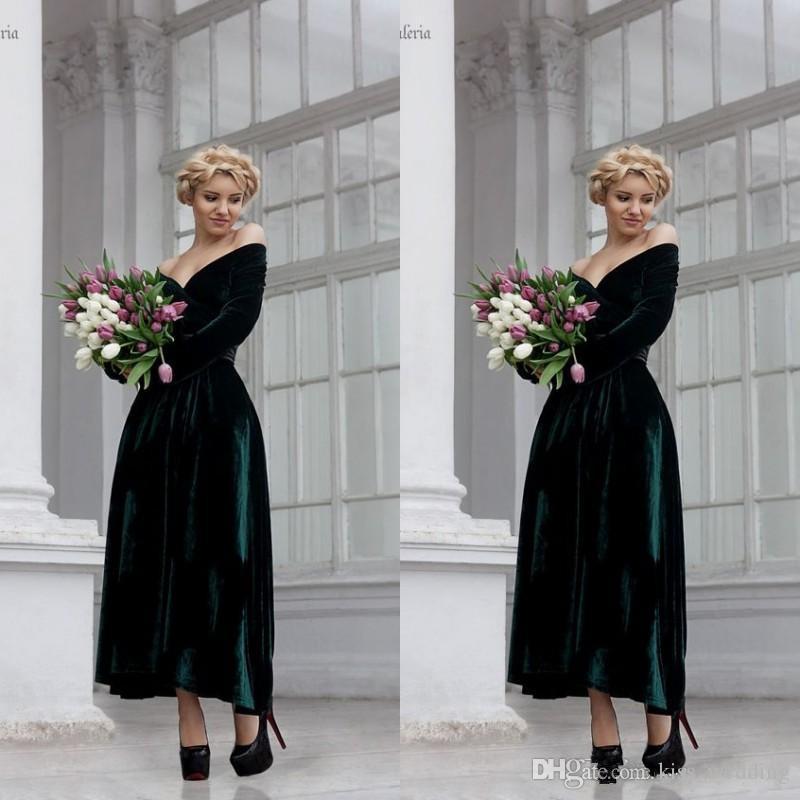 Vintage Dark Green Velvet Evening Gown Ankle Length Long Sleeves ...