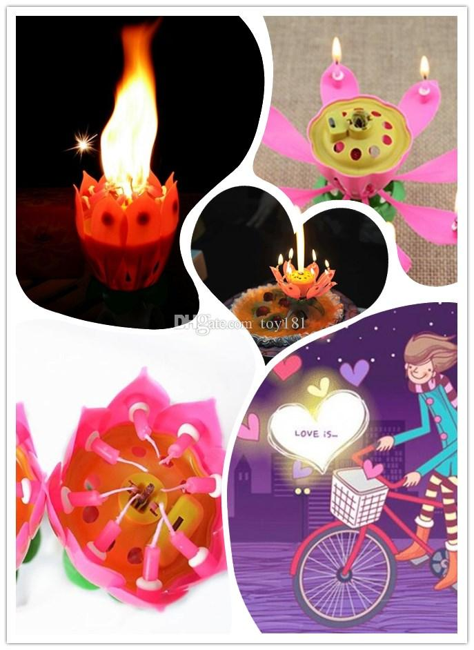 New Music Candle Blossom Lotus Flower Candle Light Birthday Party