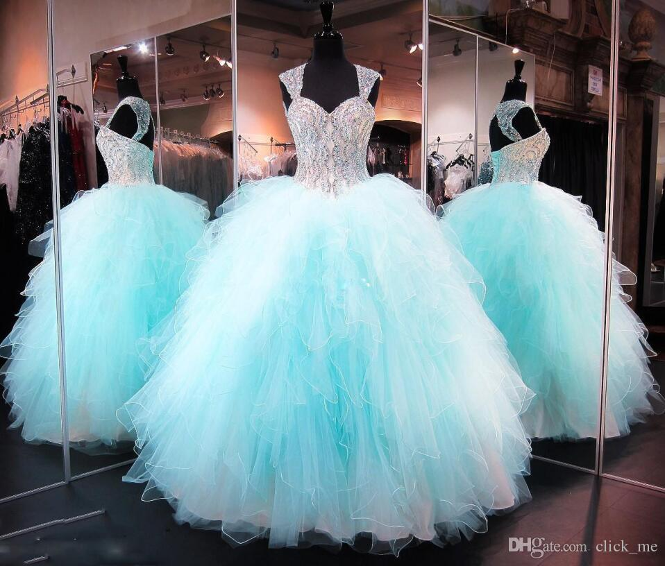 Ball Gown Quinceanera Dresses 2017 Sweetheart Capped Principali paillettes di perline Ragazze Pageant Gowns Sexy Back Hollow e Lace Up Dress laurea