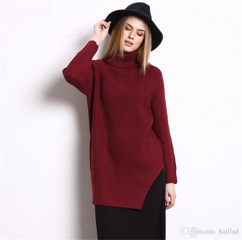 2019 Women Jag Long Sweater Winter Autumn Plain Knitted Sweaters Warm  Thincken Turtleneck Pullover Long Sleeve Women Sweater Dress From Haillad 40873c089