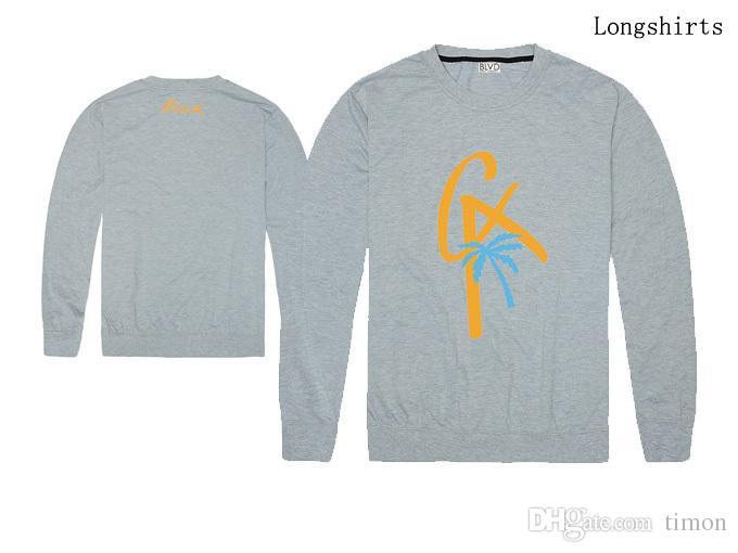 2018 novas Roupas masculinas BLVD T-shirt Da Moda Streetwear manga longa Em Torno Do Pescoço Marca Homens T-shirt Casual melhor qualidade frete grátis