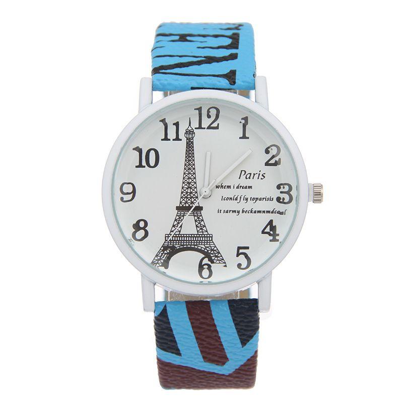 السيدات ووتش للمرأة 2016 الربيع خمر باريس برج ايفل المرأة طلاب الكوارتز ووتش للمرأة بنات ساعة اليد عادية