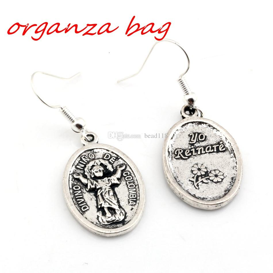 Hot ! Antique silver Divino Nino De Colombia Charms Earrings With Fish hook Ear Wire 16 X 42mm