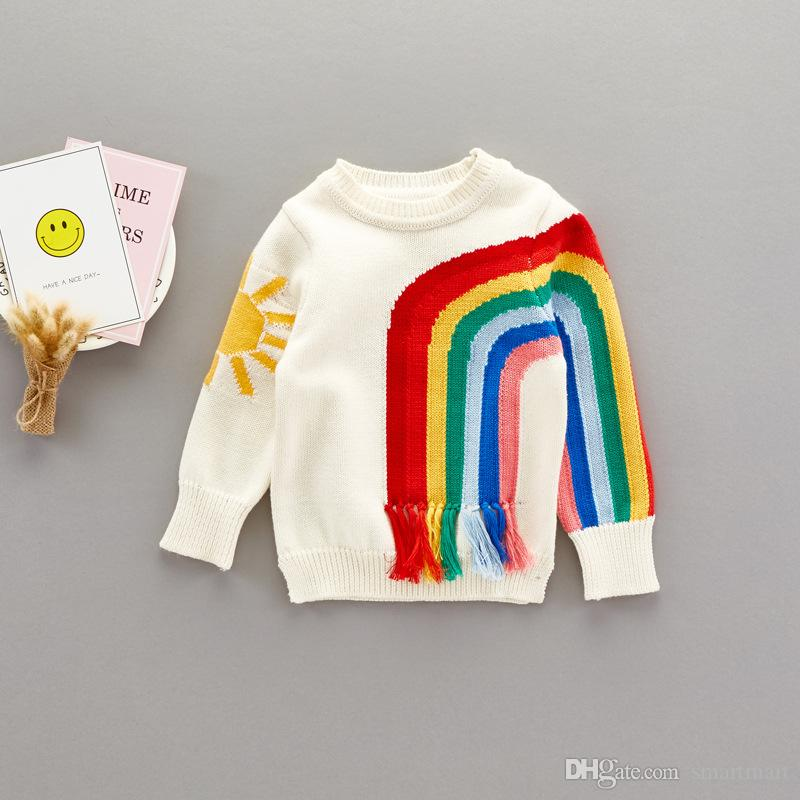 b7f82e40cc5af Everweekend Cute Girls Boys Rainbow Sun Knitted Tassels Sweater Tops Candy  Color Patchwork Autumn Spring Blouse