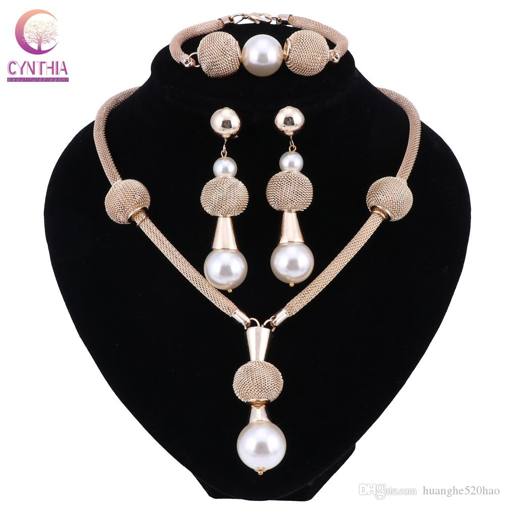 Gold Color Tassel Simulated Pearl Jewelry Sets Earrings Choker Pendants&Necklaces Bracelet Fine Jewelry Set 2 Colors