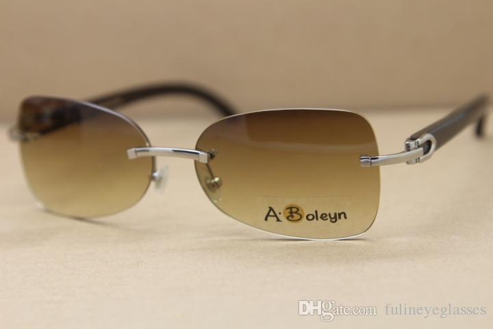 Hot Rimless T8100864 Black Buffalo Genuine horn Sunglasses Buffalo Horn Glasses outdoors driving glasses C Decoration gold frame glasses