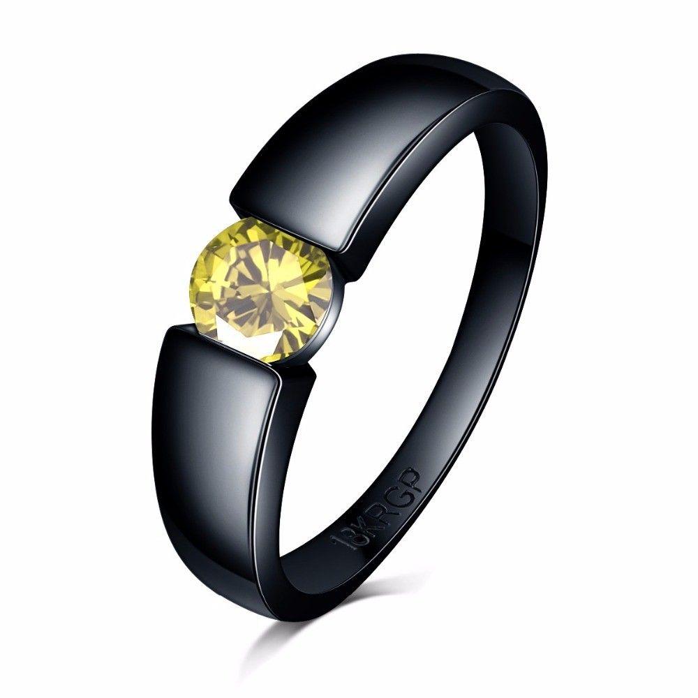 الساحرة الحجر الدائري وردي اللون الأزرق الأصفر الزركون النساء الرجال مجوهرات الزفاف الأسود 18K الذهب معبأ خواتم الخطبة BAGUE فام