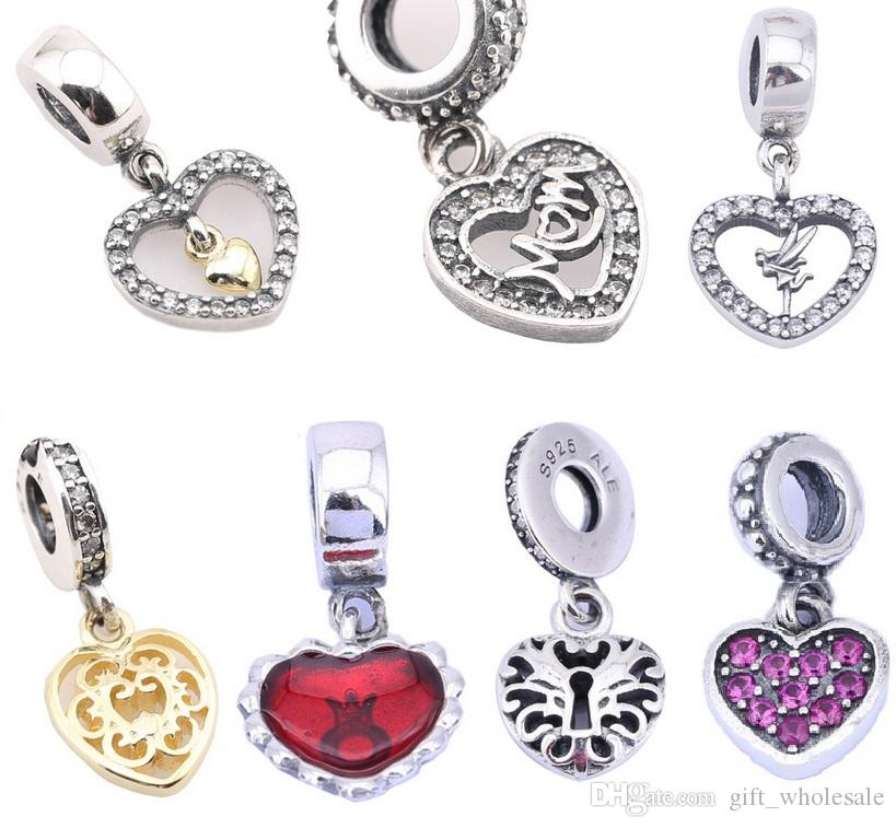 DIY 7 Styles Brand Heart Dangle 925 Sterling Silver Crystal Letters charms Heart 925 Charms Fit European Bracelets