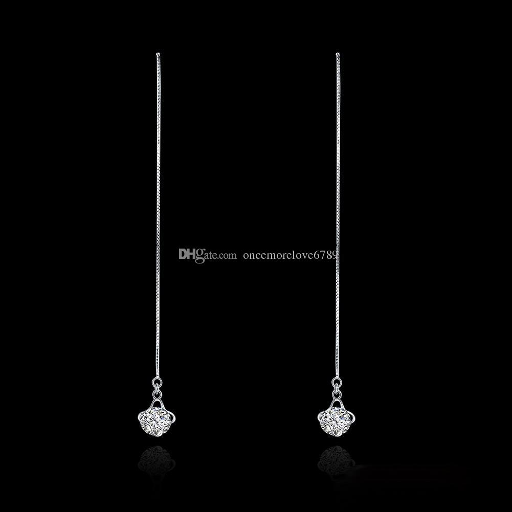 Simple Fashion Earrings 100% Real 925 Sterling Silver Jewelry Long Ear Line Drop Earrings for Women Lady Gifts Minimalist Jewelry Wholesale