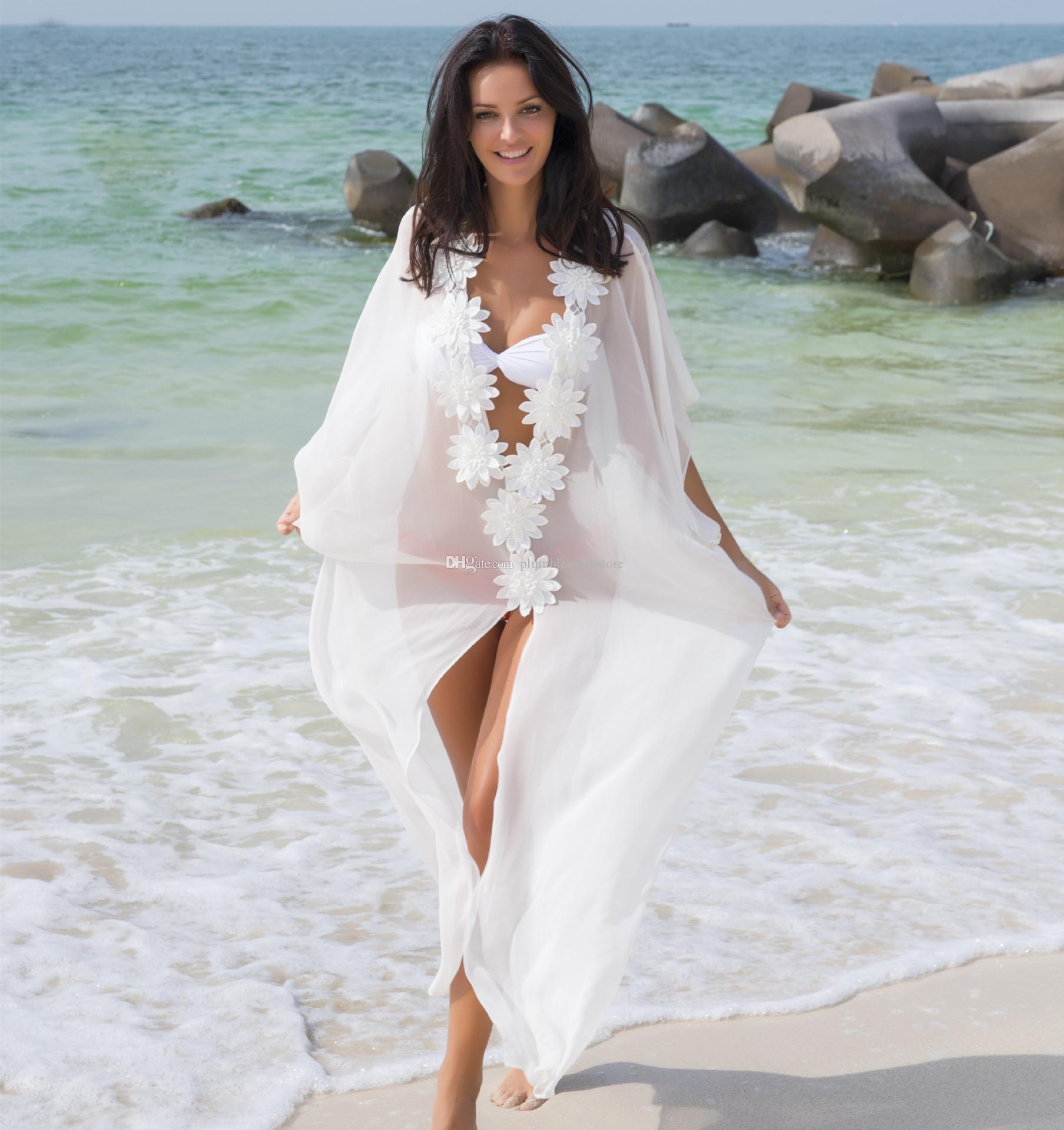 الشاطئ بيكيني غطاء المنبثقة الزهور البيضاء الشيفون ماكسي فستان الصيف الطويلة البلوزات والقمصان محض النساء واقية من الشمس ملابس السباحة بحر عطلة على شاطئ البحر