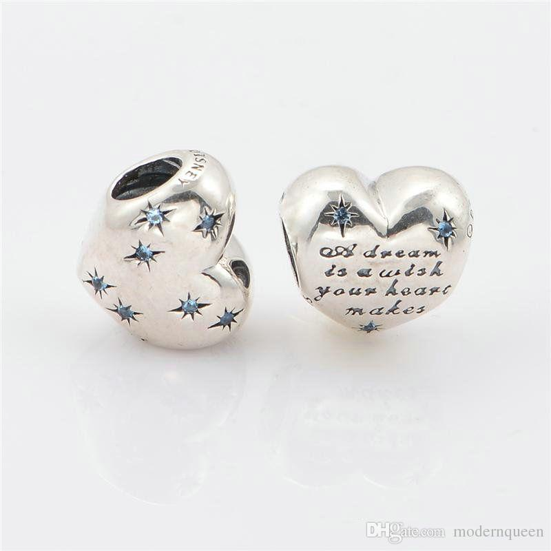 DISNY cinderella charms heart S925 sterling silver fits pandora style bracelets with fancy light blue cubic zirconia 791593CFL H6
