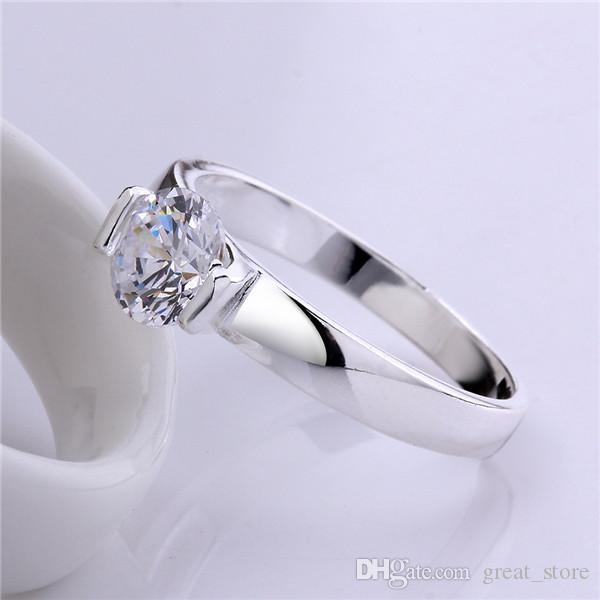 925 Placa de prata Glossy Diamond Ring GSSR603 Fábrica Venda Direta Marca Moda Esterlina Prata Banhado Anéis Dedo