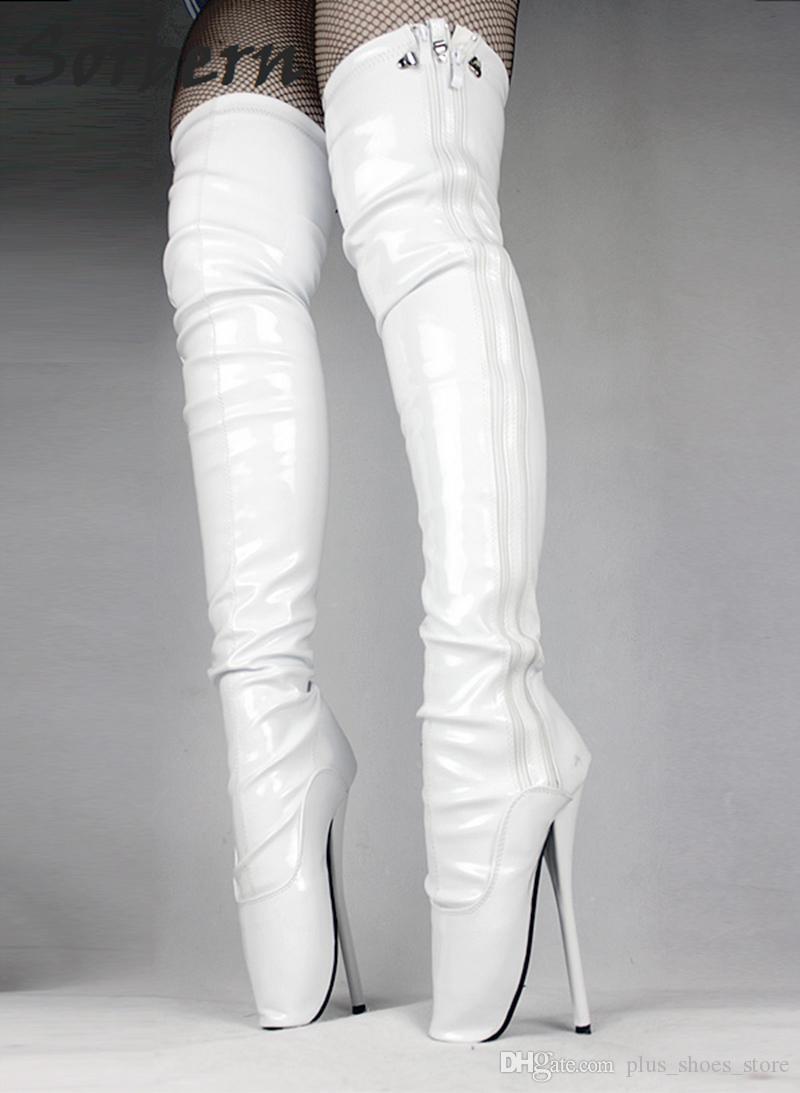 2017 Белый над коленом сапоги сексуальные фетиш Пинетки для женщин обувь балетные каблуки унисекс сапоги плюс размер бедра высокие сапоги босоножки обувь
