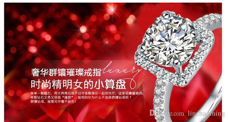 Top selling 925 Sterling Silver Wedding Party Rings with cubic zirconia Ring Fit Suit Women Pandora fine jewelry wholesale