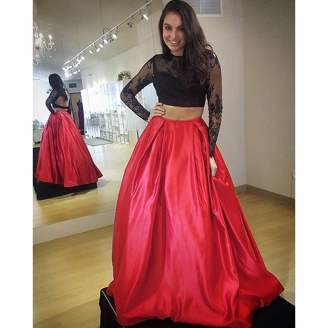 421fb74eeda Two piece prom dress black and red long sleeves backless sexy prom party  dress lace long peageant dress evening dress