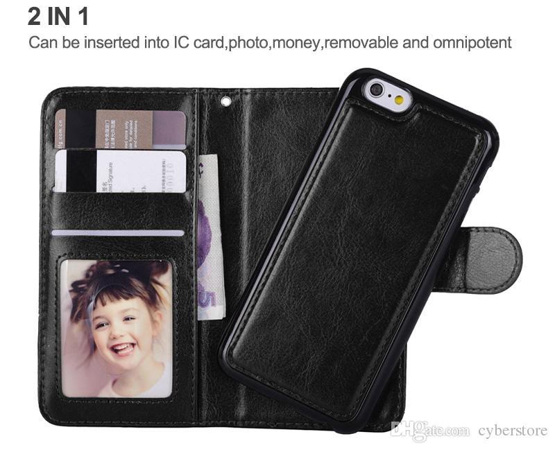 Para iPhone XS MAX Funda Cartera Funda de cuero Cubierta magnética desmontable Fundas para iPhone x xs 7 8 Samsung S10 S9 Plus